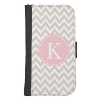 Chevron Stripe Pattern Monogram | Beige Light Pink Samsung S4 Wallet Case