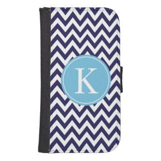 Chevron Stripe Pattern Monogram | Navy Aqua Blue Samsung S4 Wallet Case