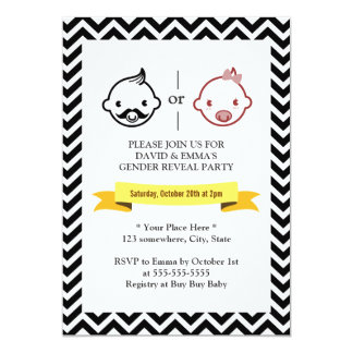 Chevron Stripes Gender Reveal Party Invitations