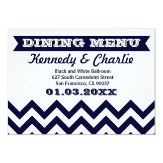 Chevron Wedding Menu Cards
