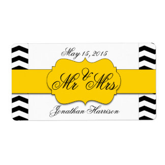 Chevron Wedding Mr and Mrs Water Bottle Labels
