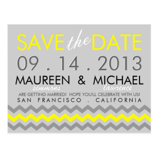 Chevron Zig-Zag Modern Save the Date Postcard
