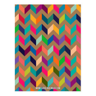 Chevron Zig Zag Wild Colors Khaki Postcard