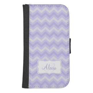 Chevron zigzag pattern purple grey name flap case