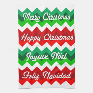 Chevrons Merry Christmas French English Spanish Tea Towel