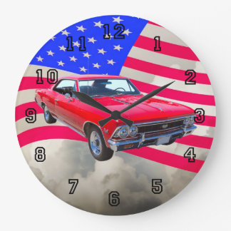 Chevy Chevelle SS 396 with American Flag Large Clock