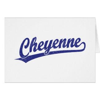 Cheyenne script logo in blue card