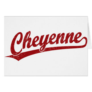 Cheyenne script logo in red card