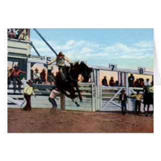 Cheyenne Wyoming Riding a Bronc Frontier Days Card