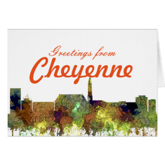Cheyenne Wyoming Skyline - Safari Buff Card