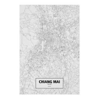 Chiang Mai, Thailand (black on white) Poster