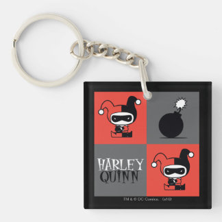 Chibi Harley Quinn Checker Pattern Double-Sided Square Acrylic Key Ring