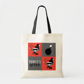 Chibi Harley Quinn Checker Pattern Tote Bag
