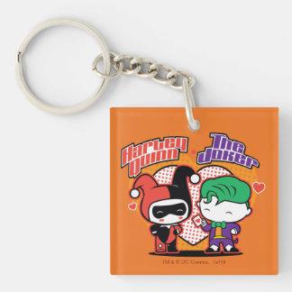 Chibi Harley Quinn & Chibi Joker Hearts Key Ring