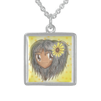 Chibi Head- Hinata Sterling Silver Necklace