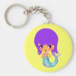 chibi magical mermaid purple hair basic round button key ring