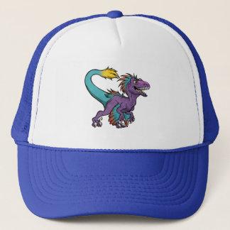 Chibi purple feathered velociraptor trucker hat