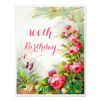 Chic 100th Birthday Victorian Roses Cottage Garden 11 Cm X 14 Cm Invitation Card