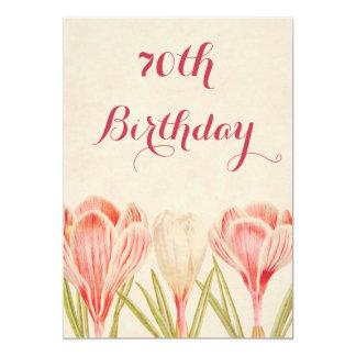 Chic 70th Birthday Spring Crocuses Card