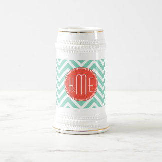 Chic Aqua Green Chevron and Orange Custom Monogram Beer Stein