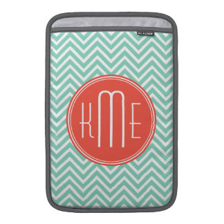Chic Aqua Green Chevron and Orange Custom Monogram MacBook Air Sleeves