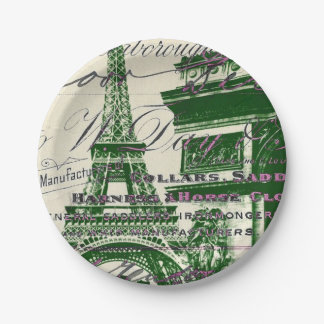 chic architecture victory gate paris eiffel tower 7 inch paper plate