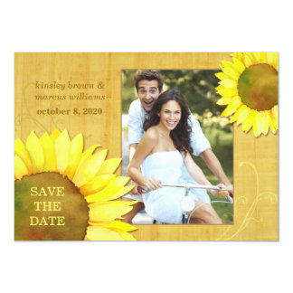 Chic Autumn Sunflowers Floral Photo Save the Date Card