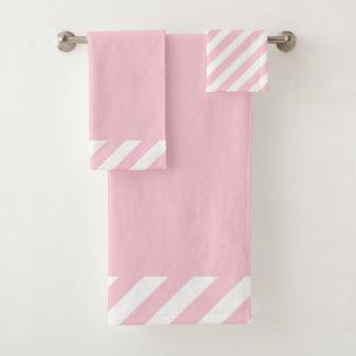 CHIC BATH TOWEL SET_MODERN PINK STRIPES