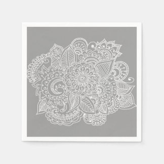 Chic Beautiful Paisley Floral Drawing Disposable Napkins