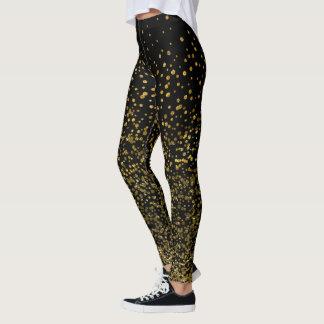 Chic Black and Gold   Faux Foil Confetti Dots Leggings