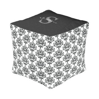 Chic Black and White Damask Monogrammed Cube Pouf
