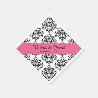 Chic Black and White Damask Wedding Napkin Disposable Napkins