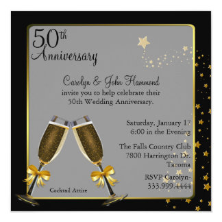 Chic Black & Gold 50th Wedding Anniversary Card