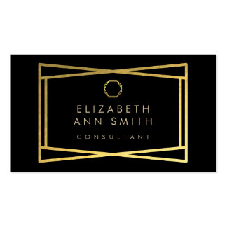 Chic Black Gold Abstract Pattern Business Card