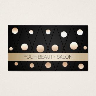 Chic Black & Gold Dots Makeup Artist Business Card