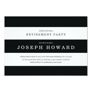 Chic Black Stripes Retirement Party Invite