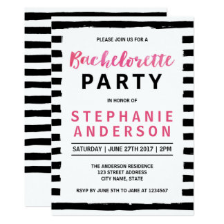 Chic Black & White Bachelorette Party Invitation