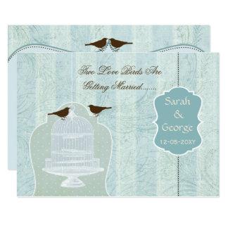 Chic blue bird cage, love birds invites