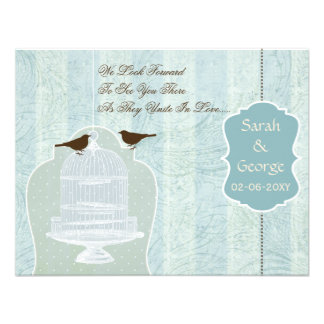 Chic blue bird cage, love birds RSVP Personalized Invitations