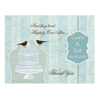 Chic blue bird cage, love birds Thank You Postcard