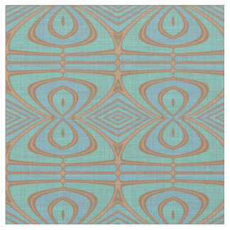 Chic Blue Turquoise Vintage Nouveau Deco Pattern Fabric