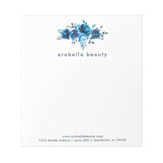 Chic Blue Watercolor Floral with Business Name Notepad