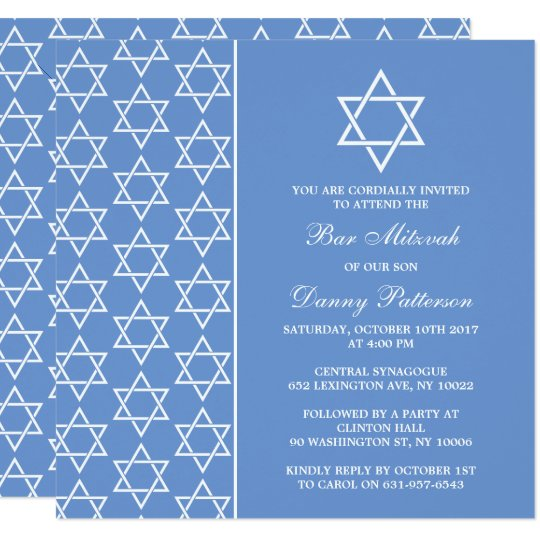 Chic Blue & White Jewish Star Of David Bar Mitzvah Card