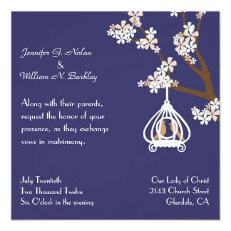 Chic Blue with Love Birds Wedding Invitation