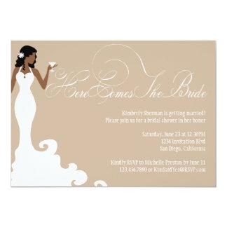 Chic Brown Here Comes the Bride Shower Invite
