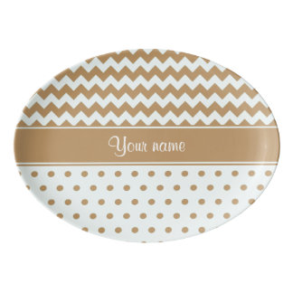 Chic Camel Chevrons Polka Dots Baby Blue Porcelain Serving Platter