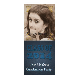 Chic Class of 2014 Graduation Party Teal Photo 4x9.25 Paper Invitation Card