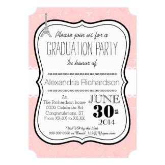 Chic classy Paris eiffel tower Graduation party 13 Cm X 18 Cm Invitation Card