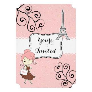 Chic classy Paris eiffel tower Graduation party Invitation