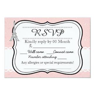 Chic classy pink Paris Eiffel tower RSVP 9 Cm X 13 Cm Invitation Card
